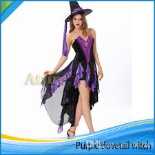 Witch Halloween Costumes Adults 2015 Halloween Purple Dovetail Witch Dress Suit Fashion