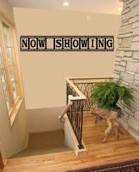 movie theater themed home decor now showing movie media room theater vinyl wall quote decal