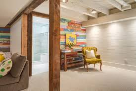 painted wood walls painted wood walls basement eclectic with console table