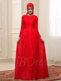 Muslim Wedding Dresses Red Beading Lace Long Sleeve Muslim Wedding Dress Tbdress Com
