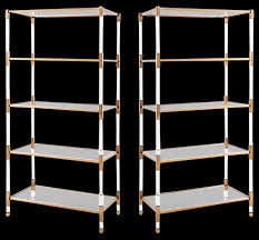 Gold Bookcase Set Of Maelie Lucite Acrylic U0026 Gold Etagere Bookcases With Glass