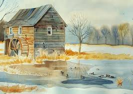 snowy new england landscape painting watercolor with ducks