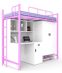 Buy Bunk Bed Online India Unicos Jumbo Bunk Bed With Study Table In Pink U0026 Frosty White