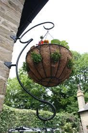 round hand hanging basket bracket garden features ideas