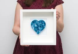 modern quilling wall art framed blue paper heart unusual
