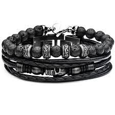 mens skull bracelet images Necropolis mens black leather skull bracelet stack with lava beads png