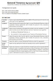 queensland rental agreement general tenancy agreement qld