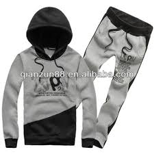 men pullover hip hop hoodie and trousers suit with string buy