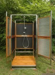 Outdoor Bathroom Designs Simple Designed Outdoor Bathroom With Black Painted Wooden Panel