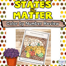 states matter thanksgiving color number review activity