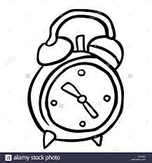 simple black and white alarm clock cartoon stock vector art