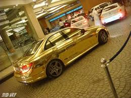 golden cars gold car mercedes c63 amg funtim