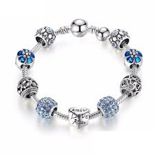 crystal charm bracelet beads images Blue flower charm bracelet ronux jpeg