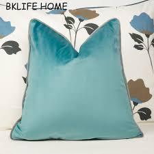 light blue pillow cases gray piping design velvet cushion cover light blue pillow case chair