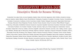 descriptive words list of adjectives for resumes u2013 self