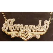 gold name plate necklace gold plated name plate necklace personalized any name