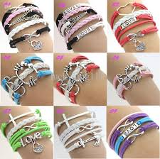 wrap bracelet with charms images 2018 new silver infinity anchor cross love charms leather wrap jpg