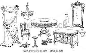 Dining Room Table Clipart Black And White Vector Lines Doodle Interior Dining Room Stock Vector 509509360