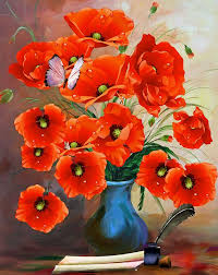 Vase With Red Poppies Free Illustration Poppies Vase Art Traditionally Free Image