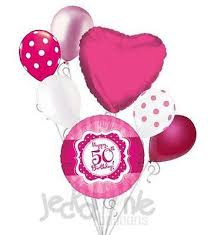 50th birthday balloon bouquets hot pink polka dots happy 50th birthday balloon bouquet