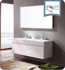 fresca largo teak modern bathroom vanity and wavy double sinks
