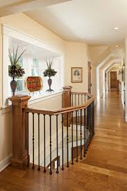 Beadboard Bench - iron balusters staircase traditional with beadboard bench seat