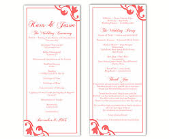 program template for wedding wedding program template diy editable text word file