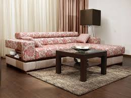 pink and white floral patterned chaise sofa mixed square brown