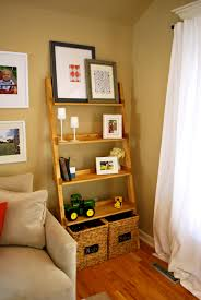 White Wicker Bookcase by Ladder Bookcase Decorating Theme With Mahogany Wood Frames And