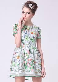 light green puff sleeve polka dot floral dress abaday com