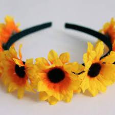 sunflower headband white and blue flower headband july from gardenoftheangels