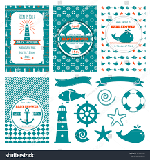 nautical baby shower cards sea theme stock vector 414620632