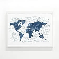 World Map Poster Large Silkscreen Print World Map Screen Printed Poster 18 X 24