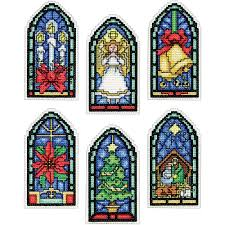stained glass ornaments counted cross stitch kit 2 x 4 14 count se