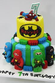 lego ninjago batman and spiderman theme cake for rayyan jocakes