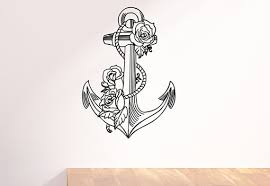 nautical anchor wrapped in roses wall decal
