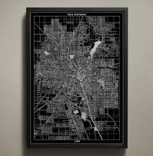 san antonio map print wall art for your home or office decor