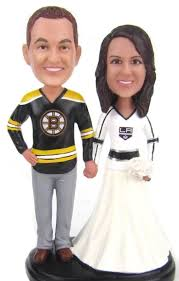 custom wedding cake toppers and groom custom sculpted wedding cake topper with bruins and hockey