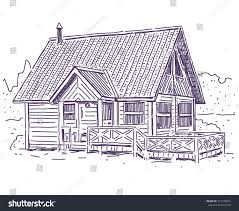 House Simple Wooden Cottage House Simple Vector Drawing Stock Vector 301049054