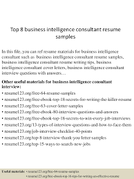 Training Consultant Resume Sample Top8businessintelligenceconsultantresumesamples 150508093422 Lva1 App6891 Thumbnail 4 Jpg Cb U003d1431077709
