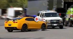 decepticon camaro bumblebee camaro crashes into cop car during filming of