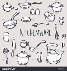 cooking typography set kitchenware handdrawn background stock