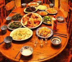 feast festive table thanksgiving day a