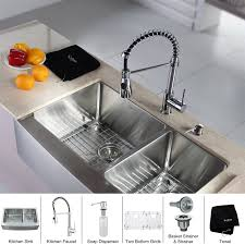 Faucet And Soap Dispenser Placement Kraus Khf203 33 Kpf1612 Ksd30ch Stainless Steel Farmhouse Kitchen