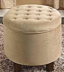 tufted round ottoman seat storage stool velvet coffee table