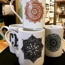coffee mug white mug handpainted mandala henna mugs with