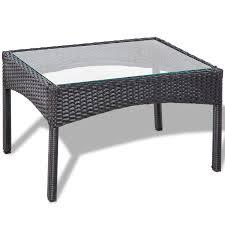 White Wicker Desk by Vidaxl Black Outdoor Poly Rattan Lounge Set Vidaxl Com