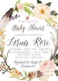woodland baby shower invitation antler feather watercolor