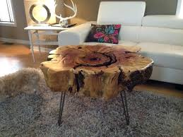 tree stump design large tree stump table with iron legs and gray