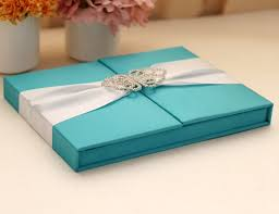 wedding invitations box blue silk wedding invitation box